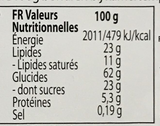 Biscuits Danois au beurre - Nutrition facts
