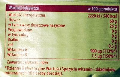 Zwykła z Kruszwicy - Margaryna o zmniejszonej zawartości tłuszczu 60 %. - Wartości odżywcze - pl