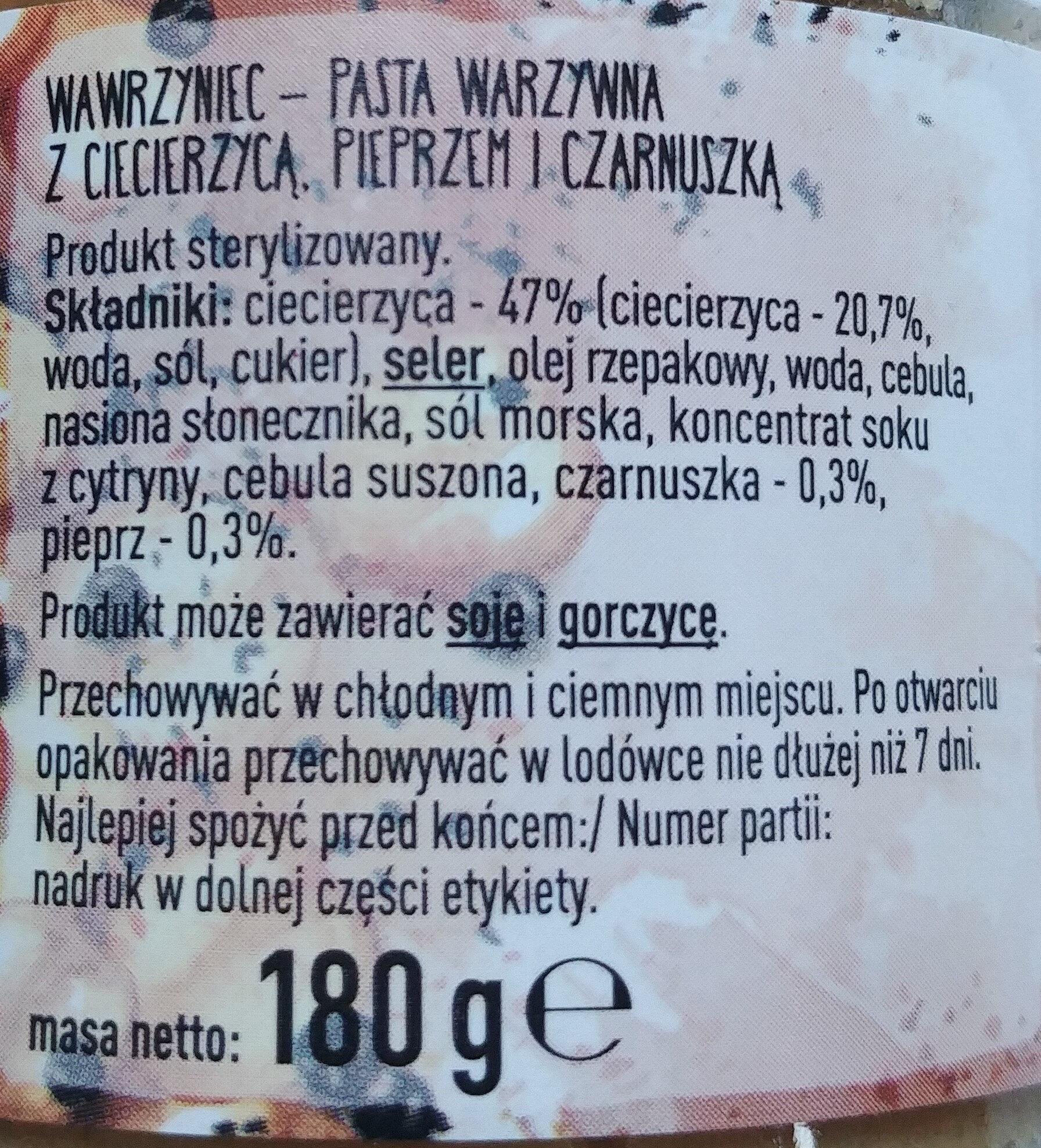 Wawrzyniec - Pasta warzywna z ciecierzycą, pieprzem i czarnuszką - Składniki - pl