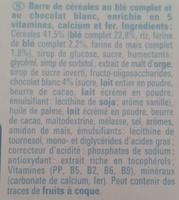 Barres Fitness Chocolat Blanc - Ingrediënten - fr