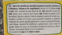 NESTLE NESQUIK Barres de Céréales 12 x 25g Maxi Format - Ingrédients - fr