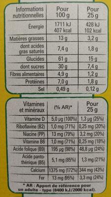 NESTLE NESQUIK Barres de Céréales 12 x 25g Maxi Format - Informations nutritionnelles - fr