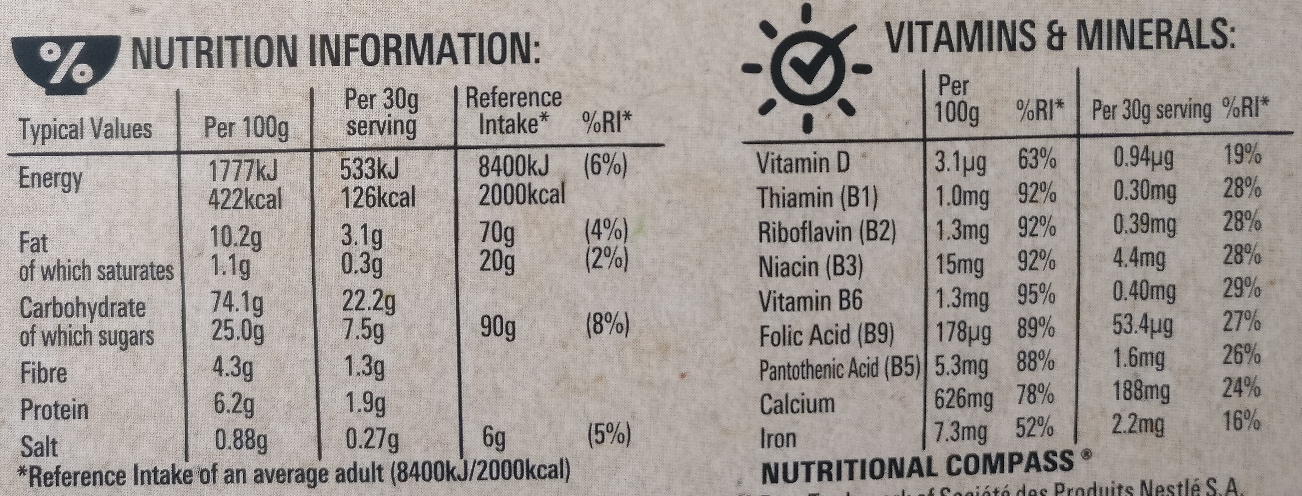 Curiously Cinnamon - Nutrition facts - en
