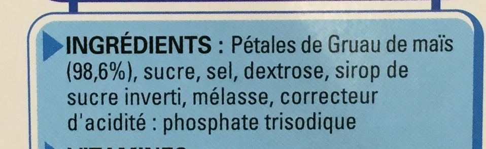 Corn Flakes Sans Gluten - Ingredientes