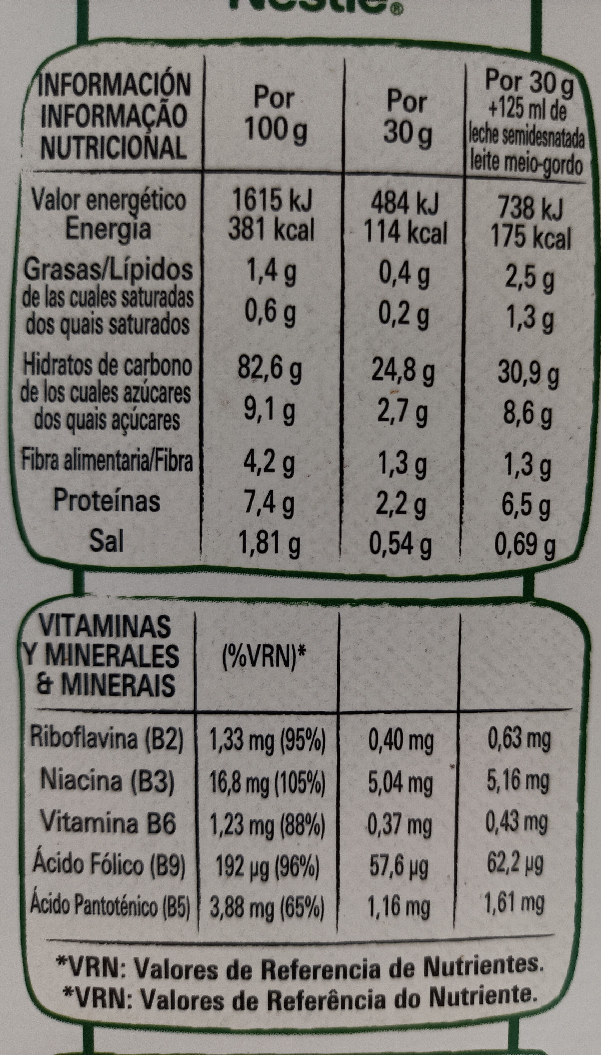 Go Free Con Flakes - Valori nutrizionali - es