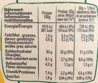 Corn Flakes Sans Gluten - Informação nutricional