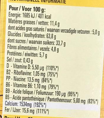 NESQUIK Delice Barres de Céréales - Voedingswaarden - fr