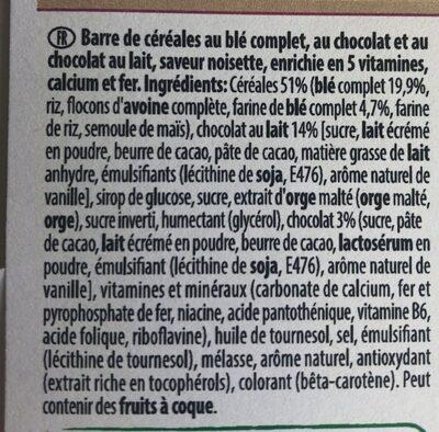 Barre de céréales Fitness Delice Choco Noisette - Ingrediënten - fr