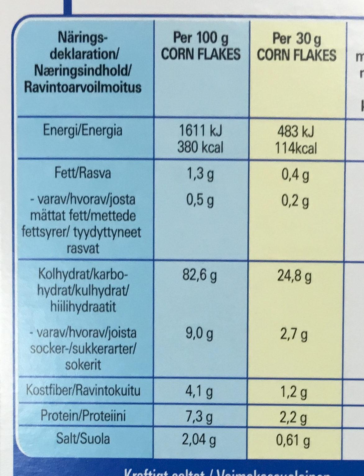 Gluten Free Corn Flakes - Información nutricional