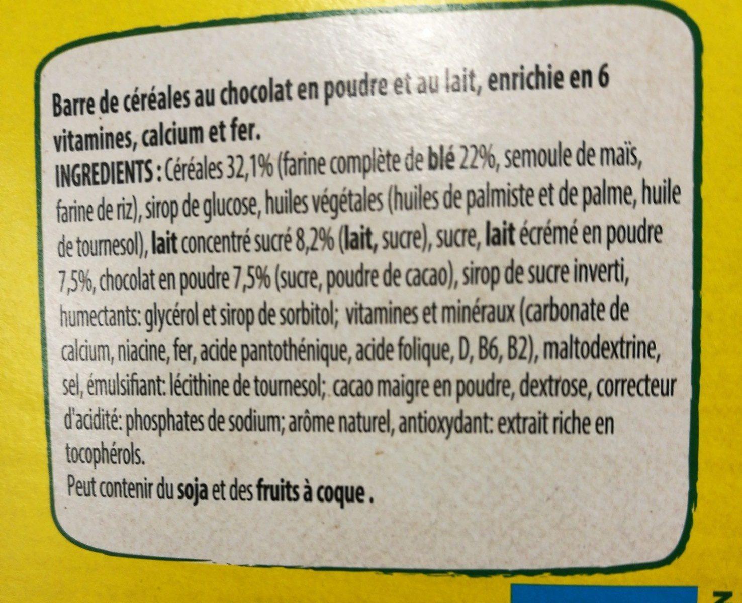 Barres chocolatées céréales chocolat et lait - Ingrediënten