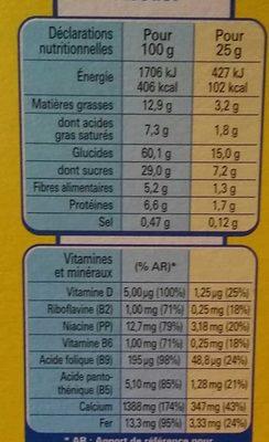 Barres chocolatées céréales chocolat et lait - Voedingswaarden