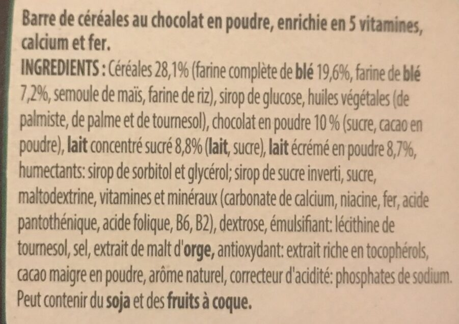 Barre Chocapic - Ingredients - fr