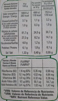 Go free cereales de desayuno copos de maíz - Informação nutricional - es