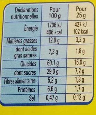NESQUIK Barres de Céréales 24 x 25g Display - Voedingswaarden - fr