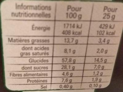NESTLE CHOCAPIC Barres de Céréales 12x25g - Valori nutrizionali - fr