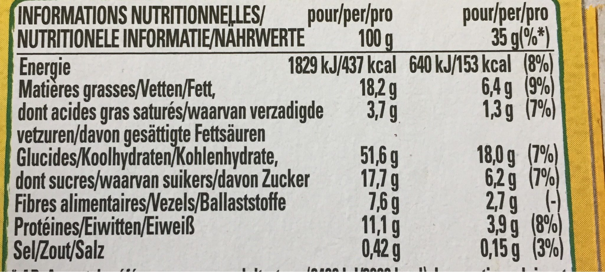 Clusters Almonds & Seeds - Informations nutritionnelles - fr