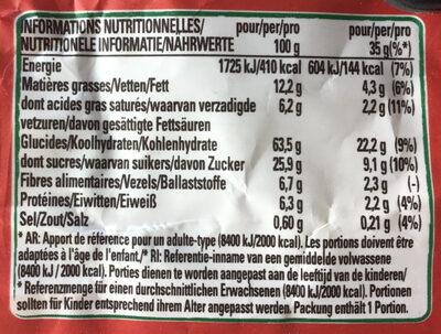 Clusters barre crunchy choco - Información nutricional