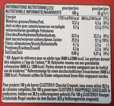 Clusters crunchy choco - Nutrition facts