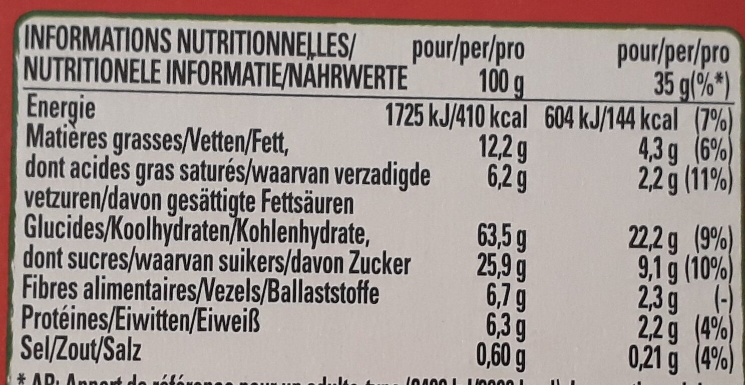 Clusters crunchy choco - Voedingswaarden - fr