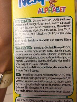 Nesquik ALPHABET - Ingredients