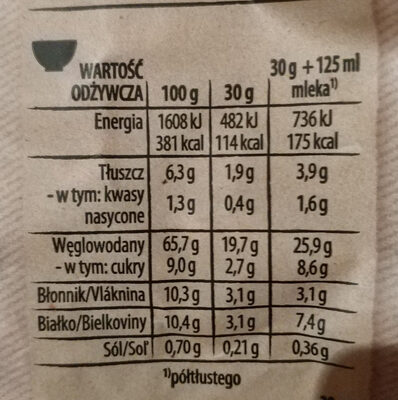 Cheerios Owsiany - Nutrition facts - pl