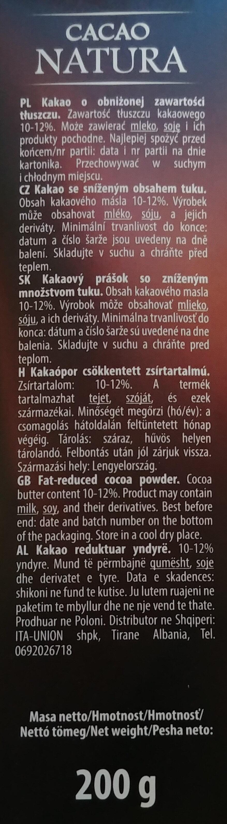 Kakao o obniżonej zawartości tłuszczu - Ingrediënten - pl