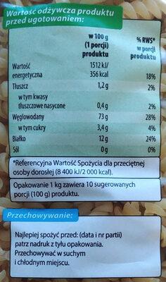 Makaron świderki - Informations nutritionnelles - pl