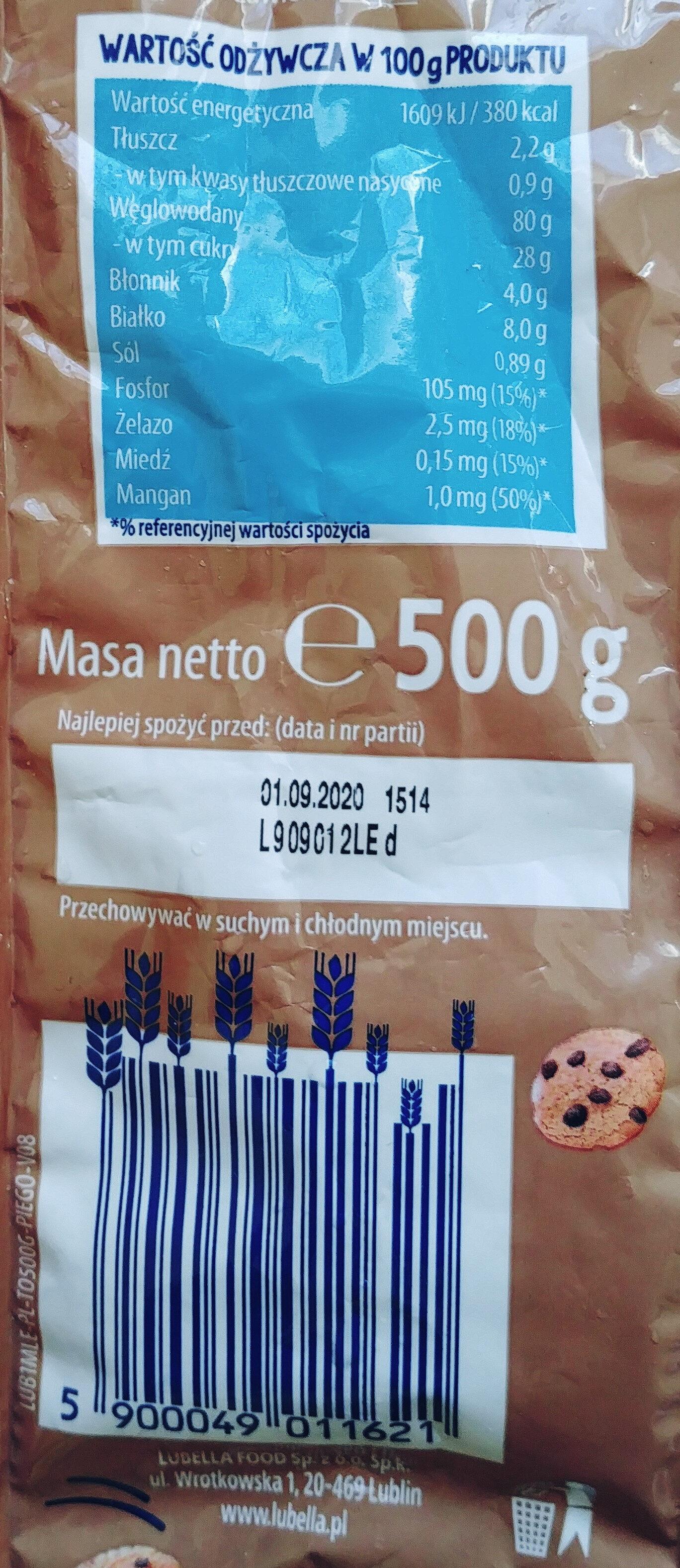 Zbożowe chrupki w kształcie ciasteczek o smaku czekoladowym - Wartości odżywcze