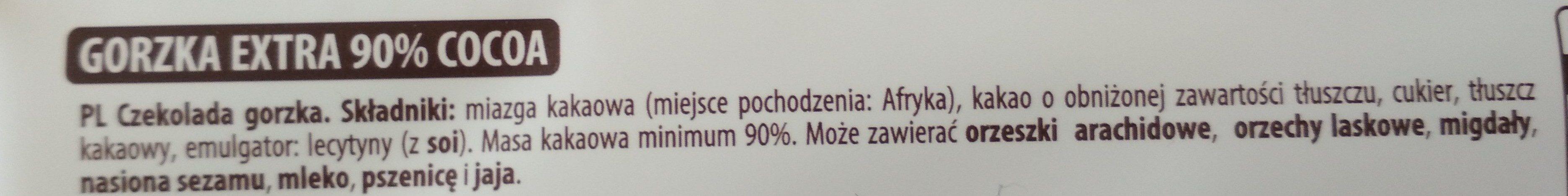 Czekolada Gorzka Extra , Cocoa 90% - Składniki