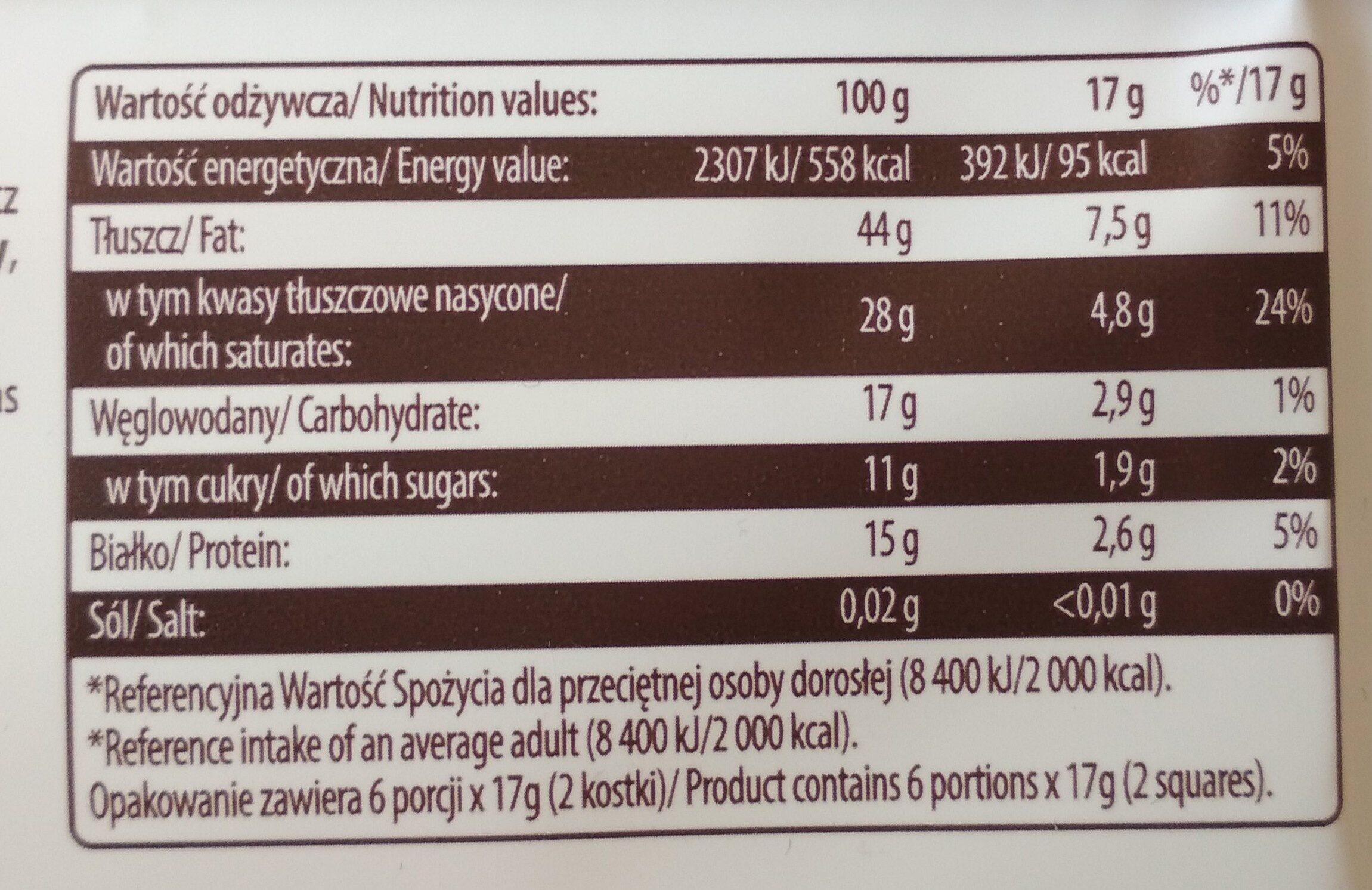 Czekolada Gorzka Extra , Cocoa 90% - Wartości odżywcze