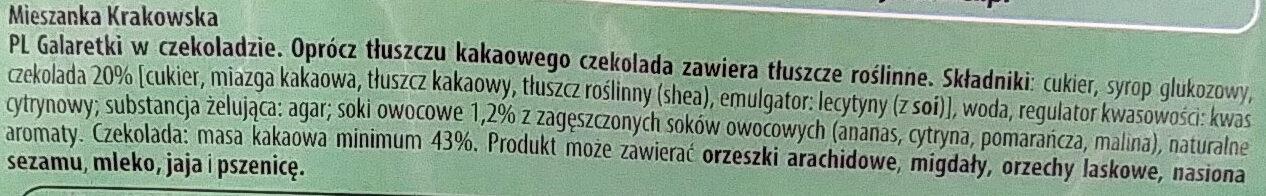 Mieszanka Krakowska - galaretki w czekoladzie. - Składniki