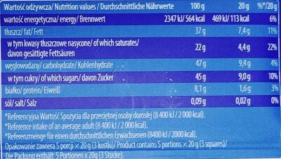 Czekolada z nadzieniem 47% kokosowo-orzechowym. - Wartości odżywcze - pl