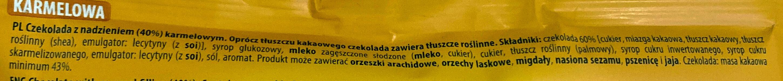 Czekolada z nadzieniem (40 %) karmelowym. - Składniki