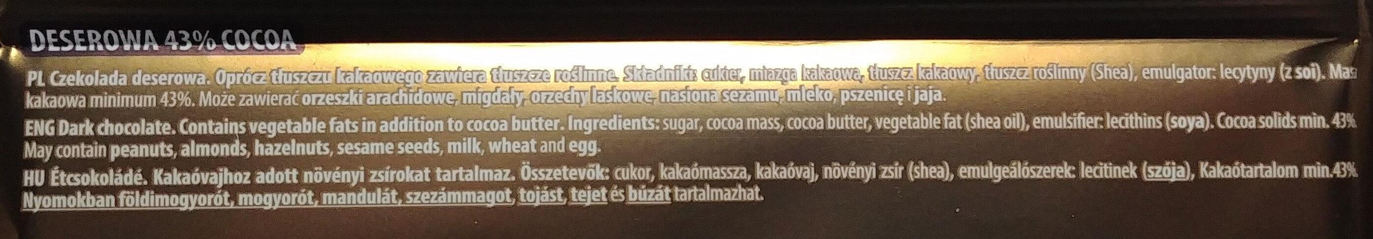 Czekolada deserowa 43% cocoa - Ingredients - pl