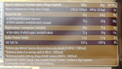 Czekolada deserowa 43% cocoa - Nutrition facts - pl