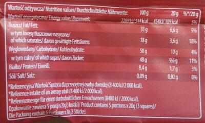 Czekolada z nadzieniem 42% orzechowym. - Wartości odżywcze - pl