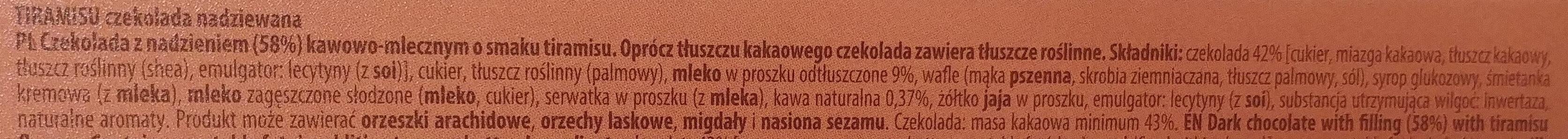 Tiramisu czekolada nadziewana - Składniki - pl
