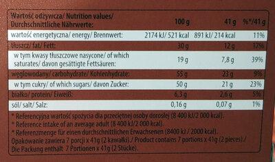 Tiramisu czekolada nadziewana - Wartości odżywcze - pl