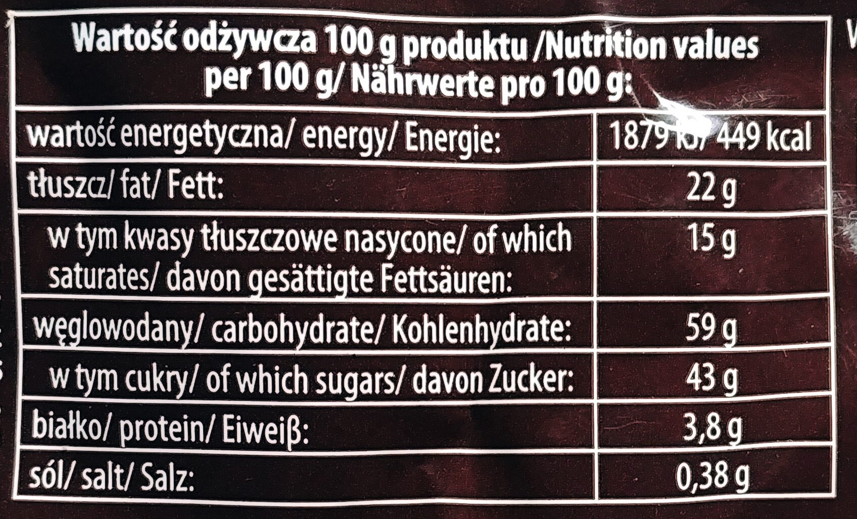 Tofflairs czekoladowo-mleczny - Wartości odżywcze