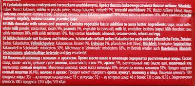Czekolada mleczna z rodzynkami i orzeszkami arachidowymi - Ингредиенты
