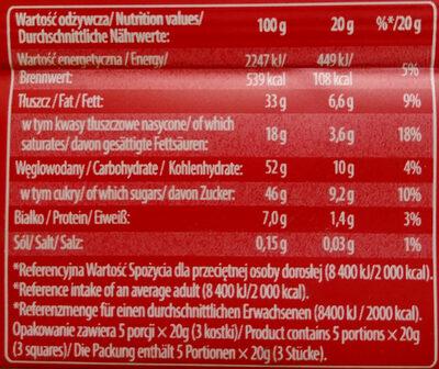 Czekolada mleczna z rodzynkami i orzeszkami arachidowymi - Voedingswaarden