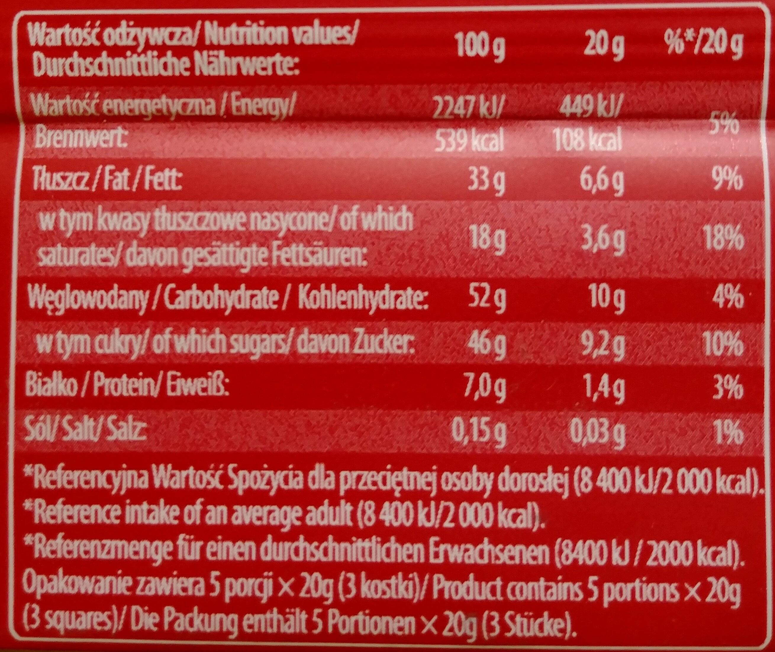 Czekolada mleczna z rodzynkami i orzeszkami arachidowymi - Voedigswaarden