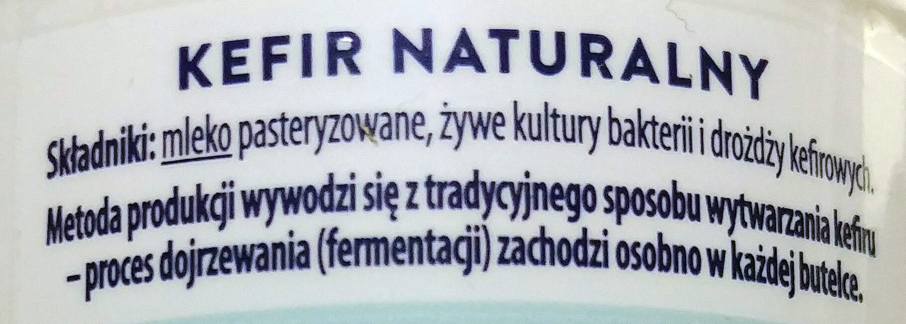 Kefir naturalny 1,5 % tłuszczu - Składniki - pl