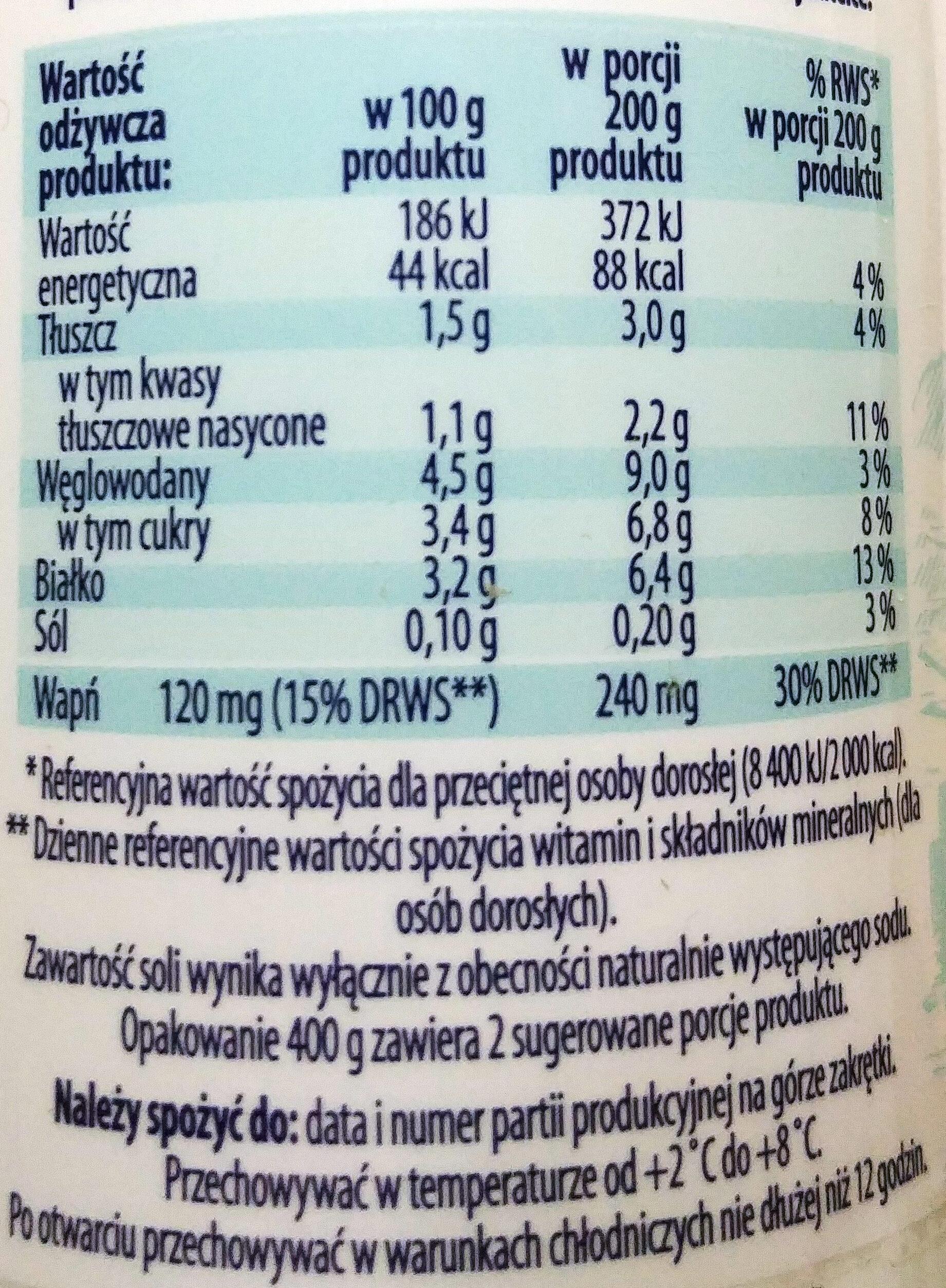 Kefir naturalny 1,5 % tłuszczu - Wartości odżywcze - pl