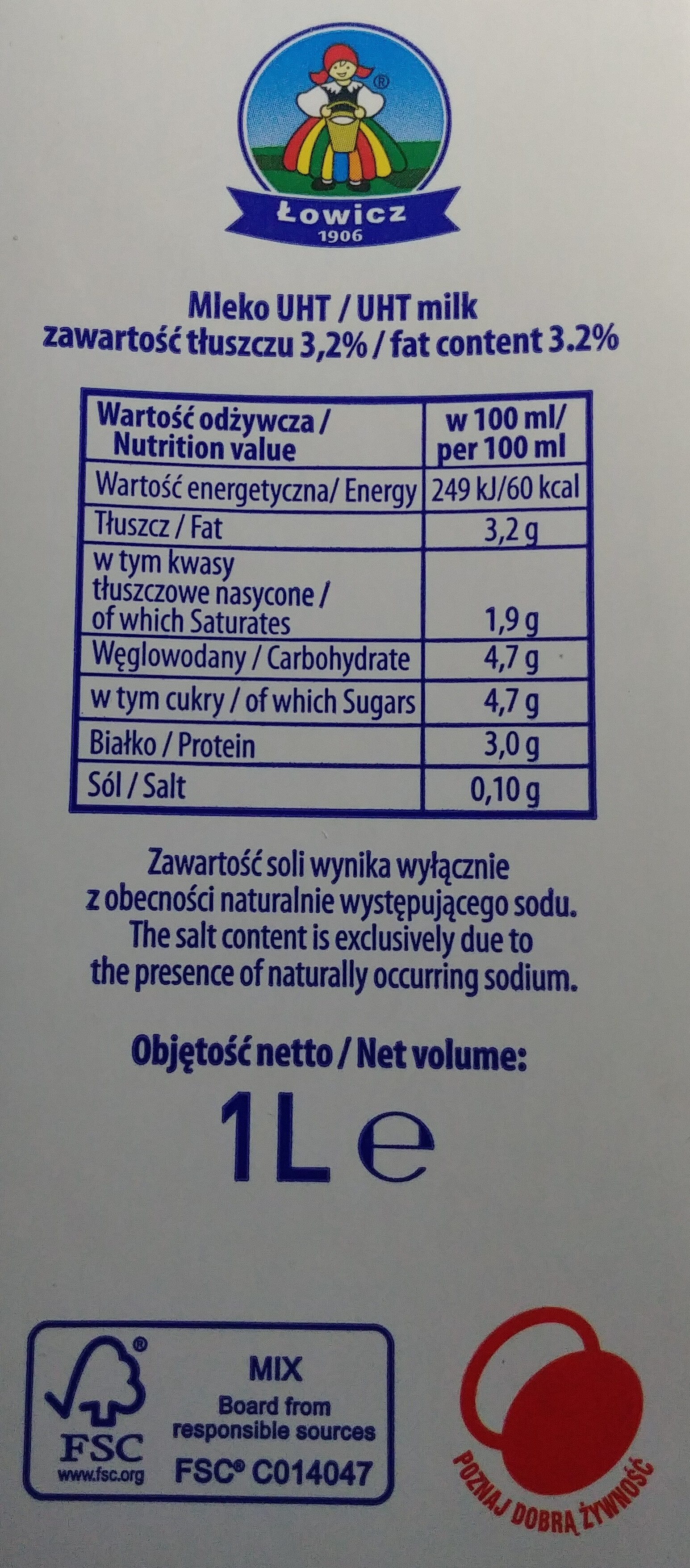 Mleko UHT 3,5 % - Nutrition facts