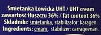 Śmietanka UHT 36% Łowicka - Ingredients - en