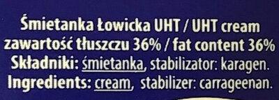 Śmietanka UHT 36% Łowicka - Ingredients