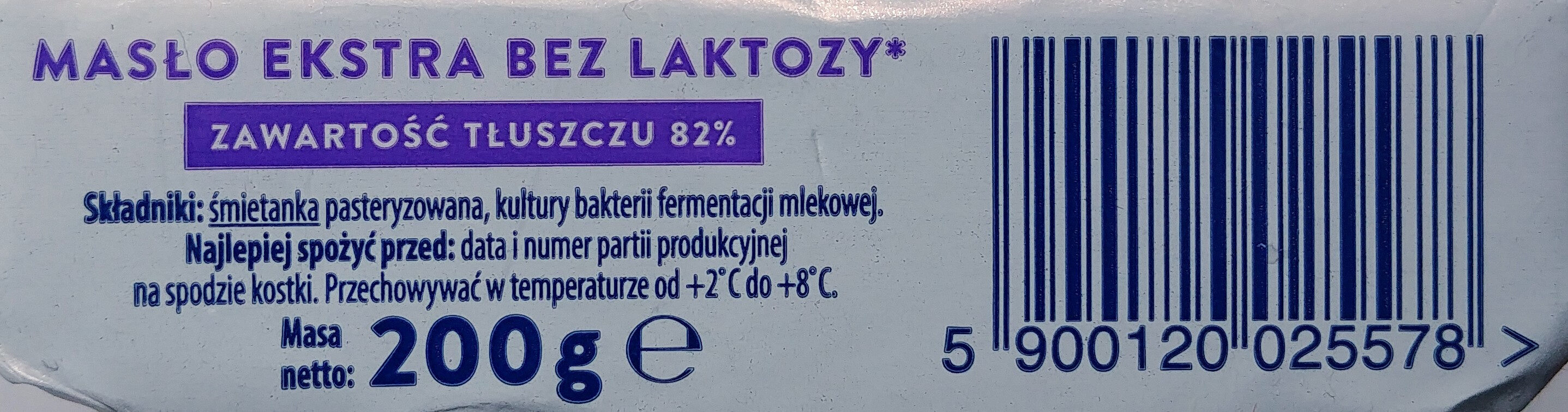 Masło ekstra bez laktozy - Składniki