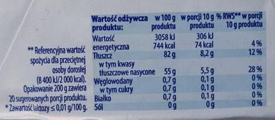 Masło ekstra bez laktozy - Wartości odżywcze