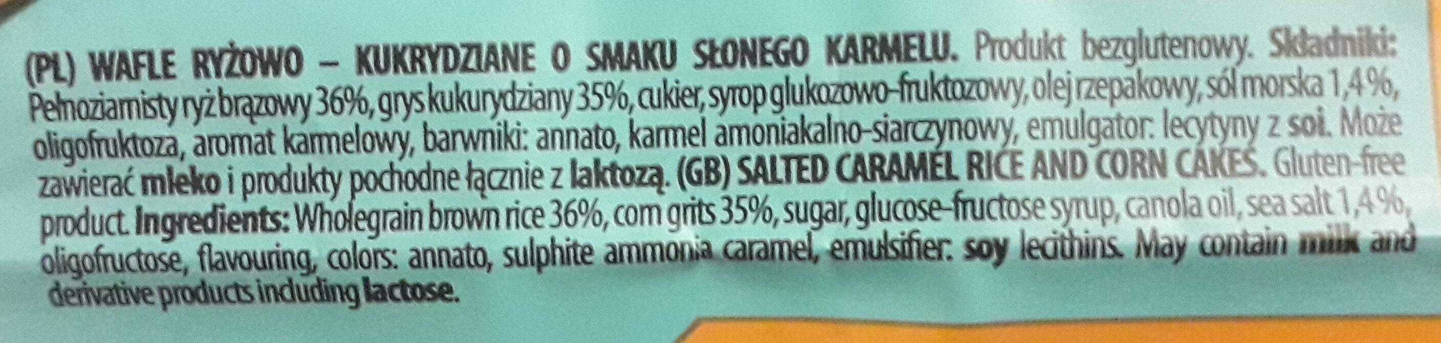 Wafle ryżowo-kukurydziane o smaku słonego karmelu - Ingrédients - pl